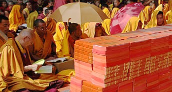 young monks reading in the new dharma books provided at the Nyingma Monlam Chenmo