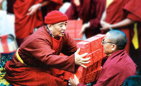 Lama Tarthang Tulku distributes Tibetan books during the World Peace Ceremony